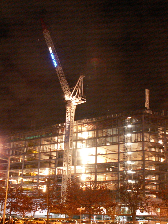 Section 84 under construction by night