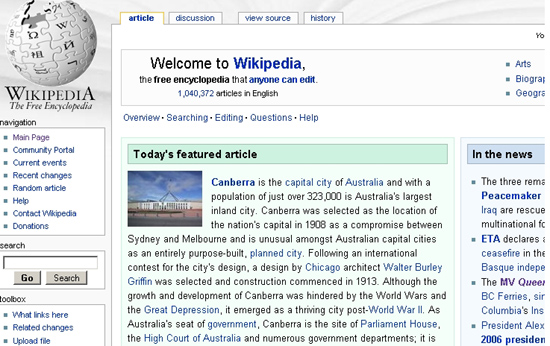 Canberra on Wikipedia
